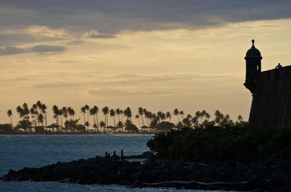 Sunset over the Sun Juan Bay, Puerto Rico