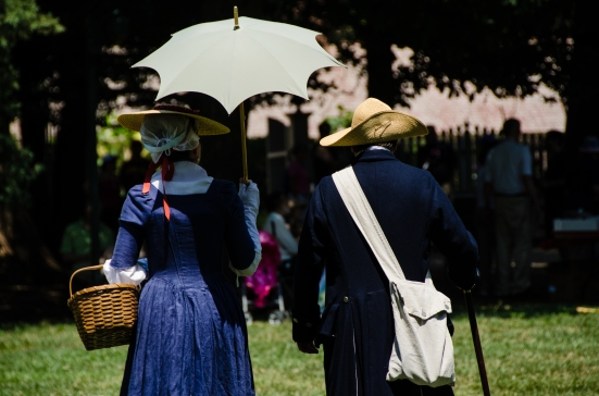 Reenactors strolling at George Washington's Mount Vernon Estate and Gardens