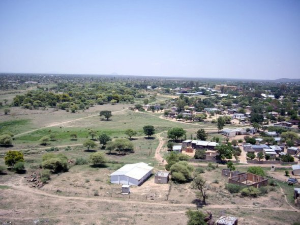 Mochudi from a hill, Botswana