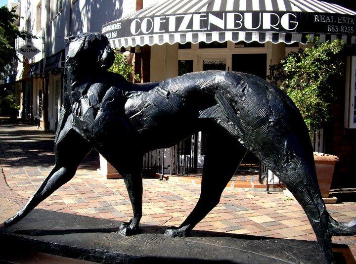 Dylan Lewis cheetah statue, Stellenbosch, South Africa