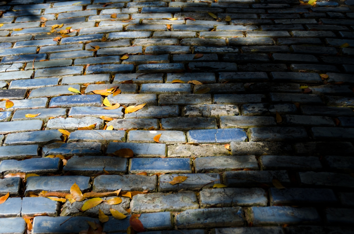 Blue cobblestones of Old San Juan, once brought from Spain as ballast