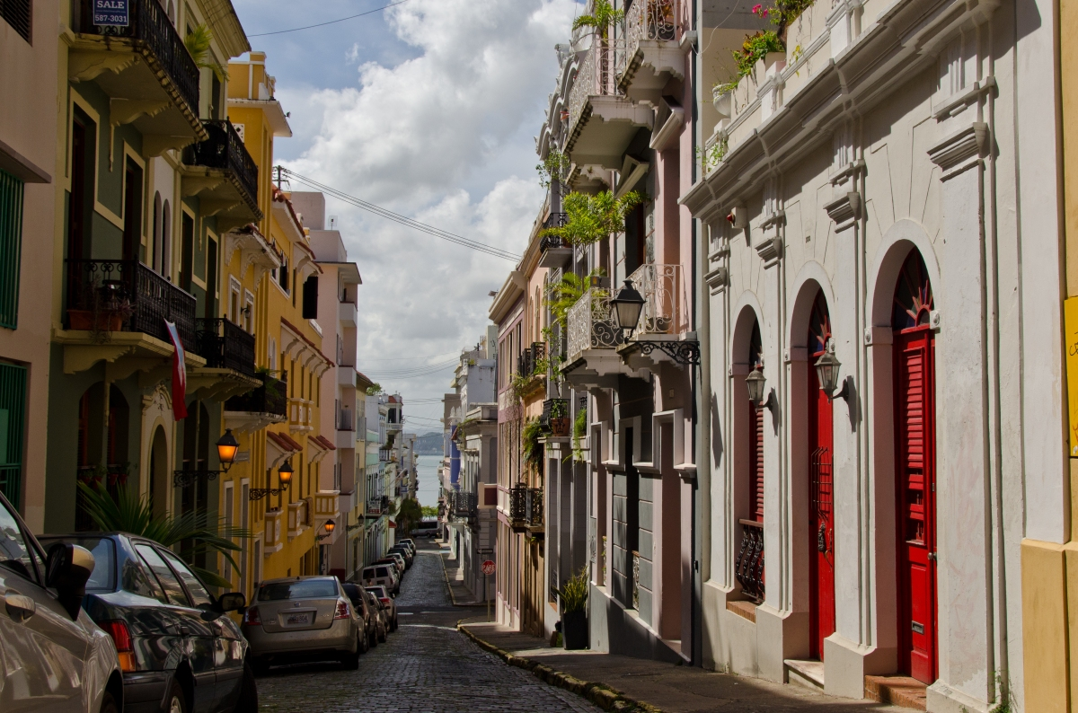 Old San Juan streets, colorful and bright