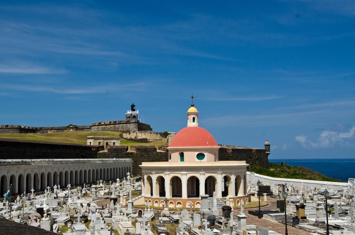 Santa María Magdalena de Pazzis Cemetery, with El Morro, Puerto Rico