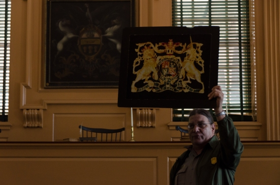 In the Supreme Court Room (Independence Hall) - a rendering of the king's symbol, paraded through the city and ceremonially burned