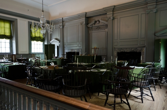 The Assembly Room (Independence Hall in Philadelphia), where the Declaration of Independence was drafted and signed, and the US Constitution was born