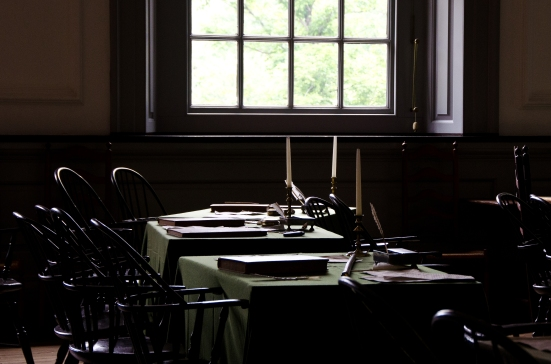 The Northern Colonies' tables, Assembly Room, Independence Hall, Philadelphia