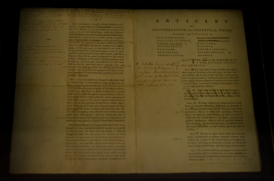 The Articles of Confederation in Philadelphia, with George Washington's edits (he then folded it and put it in his pocked before he walked up to read it aloud to the public)