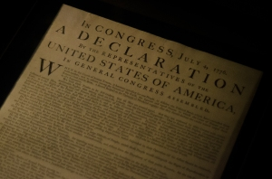 The Declaration of Independence, the oldest copy was printed (this one), before the fancy, signed version displayed in DC