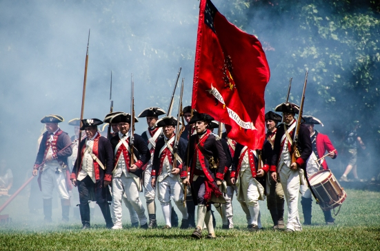 Revolutionary War Military Drill during Mount Vernon's 4th of July Celebration