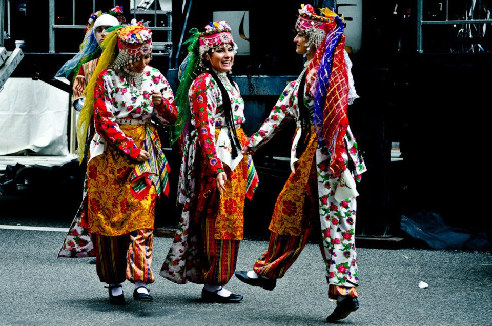 Folk dancers, practicing behind the stage, at the DC Turkish Festival