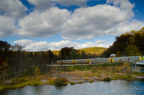 Ohiopyle State Park, train running through the autumn-swept hills