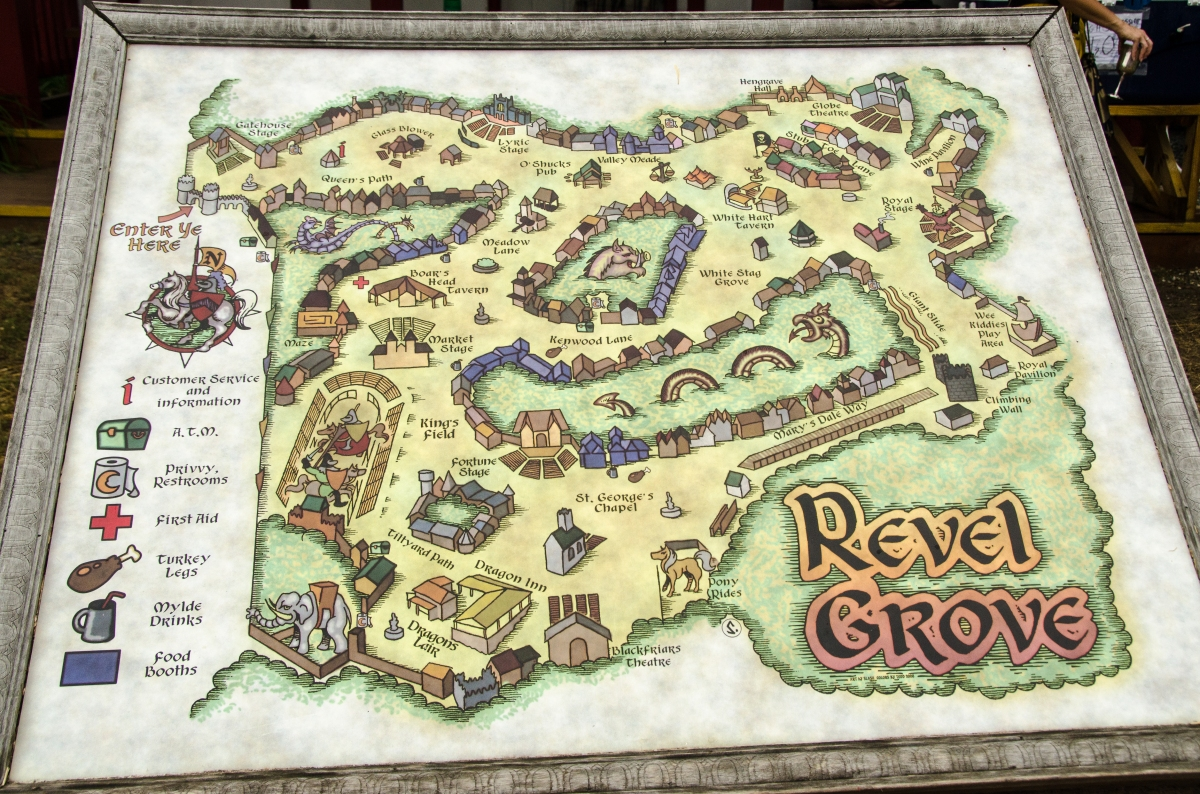 Maryland Renaissance Festival Map - village of Revel Grove