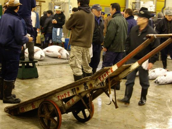 Cart at the Tuna auction at Tsukiji Fish Market, Tokyo