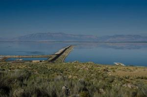 The Antelope Island causeway, view from the island