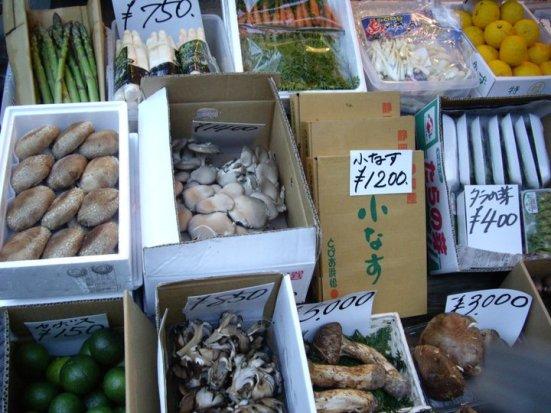Mushrooms at the outer market, Tsukiji Fish Market, Tokyo