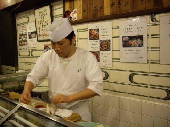 Our chef, Tsukiji Fish Market, Tokyo