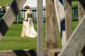 Costumed girl walking by the slave quarters at James Madison's Montpelier - Constitution Day