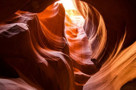 Looking up at Antelope Canyon, Navajo Lands, near Page, Arizona