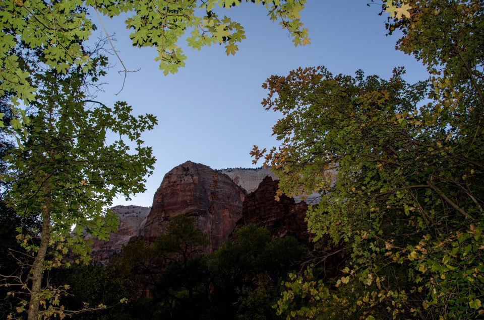 Zion as the sun is setting