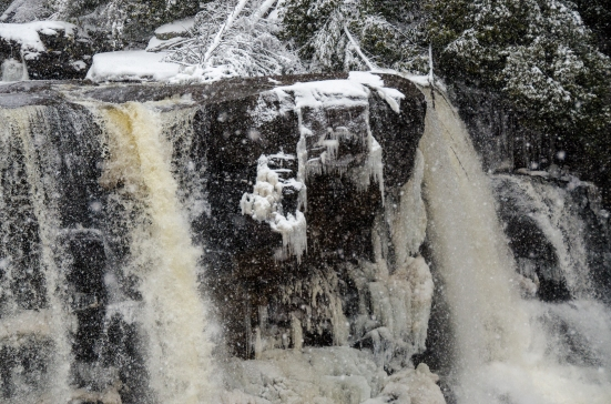 Blackwater Falls in the winter up close