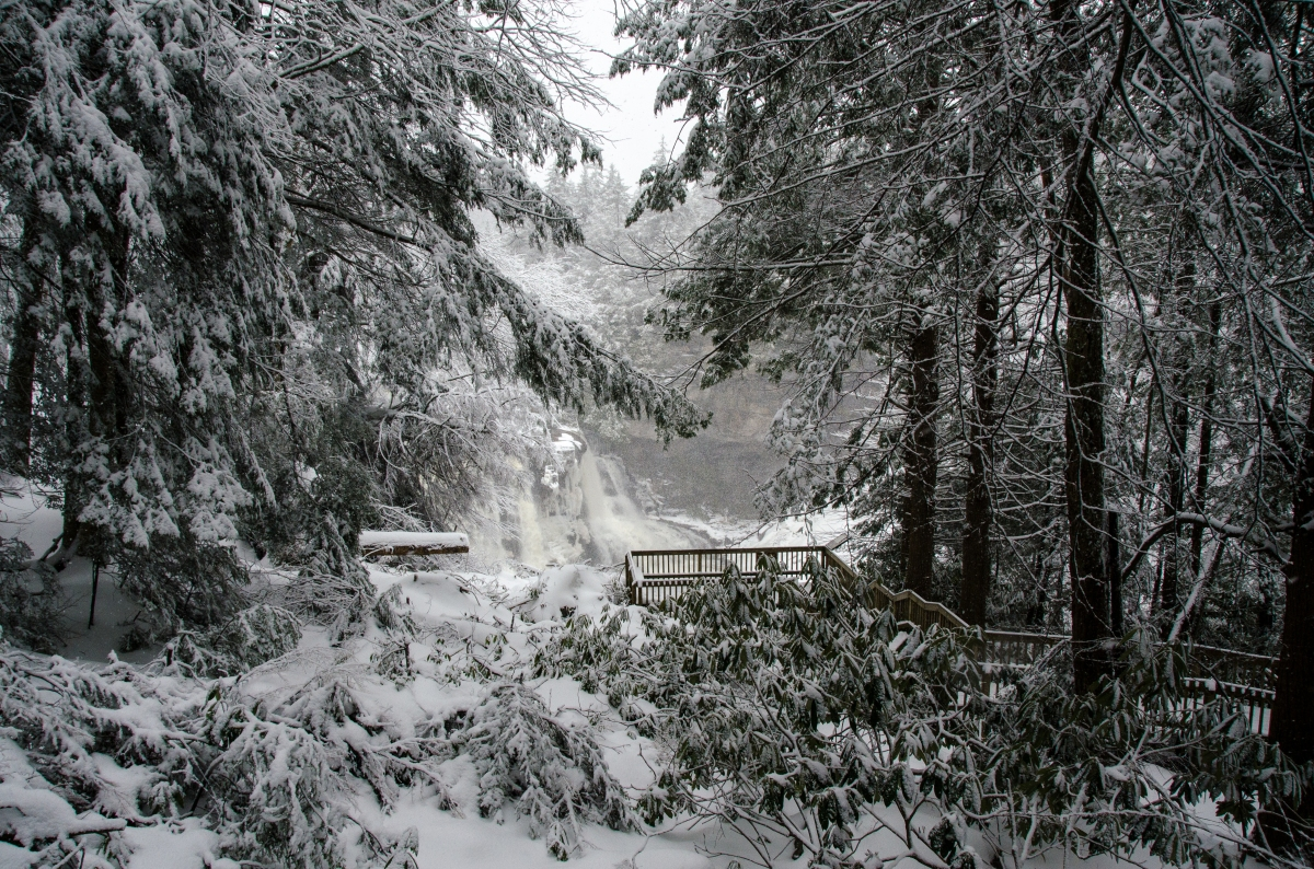 Our first glimpse of Blackwater Falls in the winter