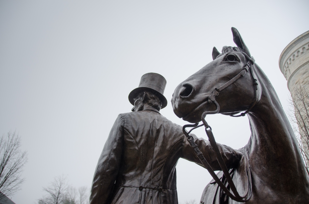 Lincoln and his horse - statue by the President Lincoln's Cottage