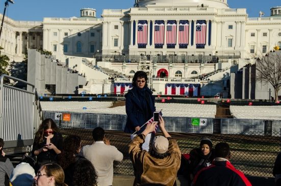 Crowds looking at restricted area for the 2013 inauguration, US Capitol