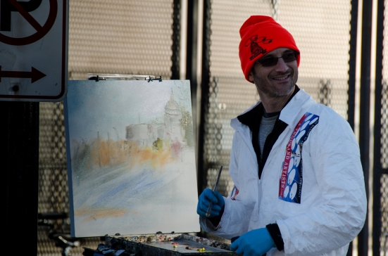 Artists painting 2013 inauguration Pennsylvania Ave