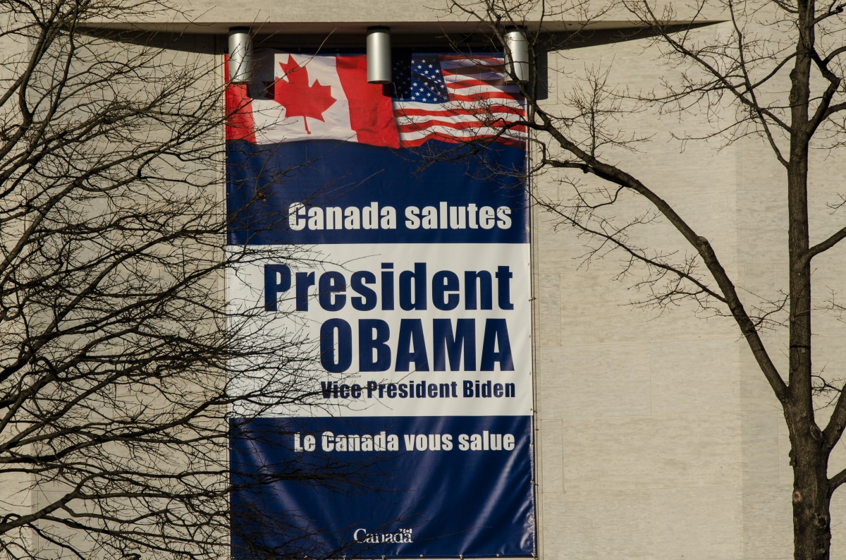 Canadian Embassy on Pennsylvania Avenue, ready for the inauguration 2013