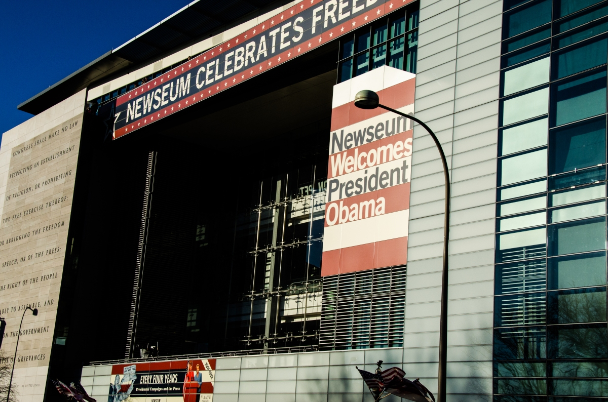 Newseum decorated for the 2013 inauguration