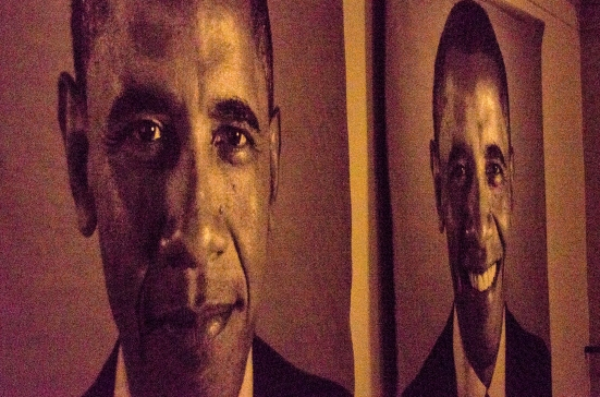 President Obama tapestries by Chuck Close, National Gallery of Art