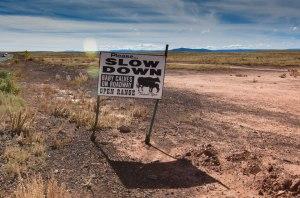 Drive slow sign near Meteor Crater, Arizona