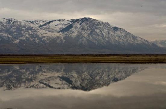 Mountain reflected in the river, Bear River Migratory Bird Refuge, Utah