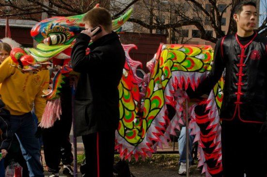 Local schools wait for their turn in the DC Chinese New Year Parade