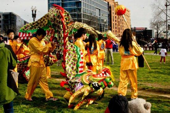 Practicing dragon dance, DC Lunar New Year, Chinatown
