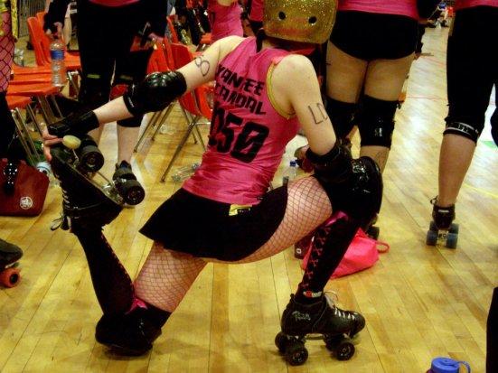 Preparing - Cherry Blossom Bombshells, DC Rollergirls
