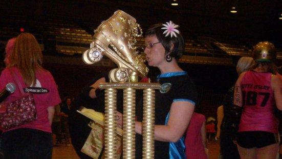 The trophy for DC Rollergirls, roller derby