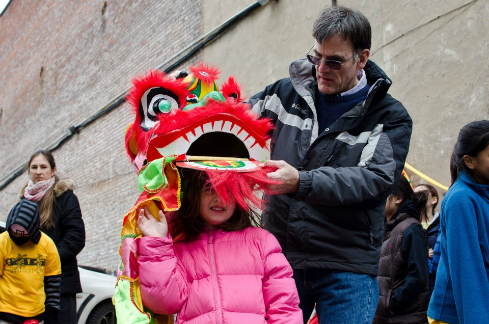 Trying on a dragon, DC Chinese Lunar New Year Parade
