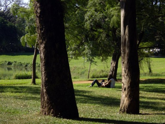 A couple snuggling at the Ibirapuera Park, Sao Paulo