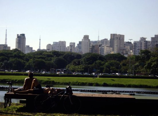 Students resting in Ibirapuera Park, Sao Paulo