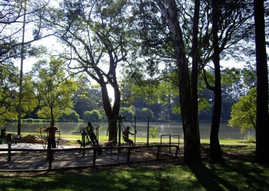 Free gym at the Ibirapuera Park, Sao Paulo