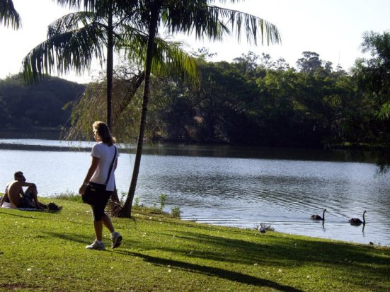 A woman enjoying a walk in Ibirapuera park, Brazil