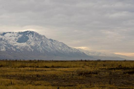 Winter at Bear River Migratory Bird Refuge - mountain, clouds, and plain