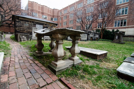 Raised marble slab at Westminster Hall and Burying Ground, Baltimore