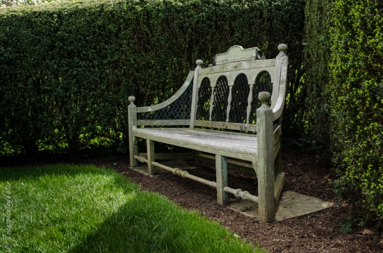 One of the many inviting benches at the Dumbarton Oaks gardens, Washington DC