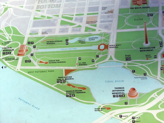 Tidal Basin map, Washington, DC