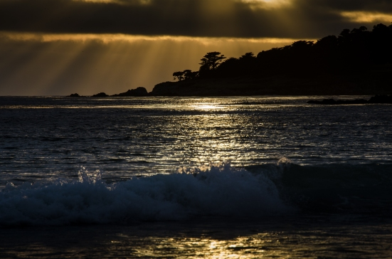 Sunset, beach in Carmel-by-the-Sea, CA
