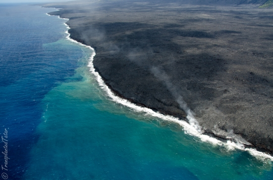 Helicopter ride over Kilauea flows coast, Hawaii