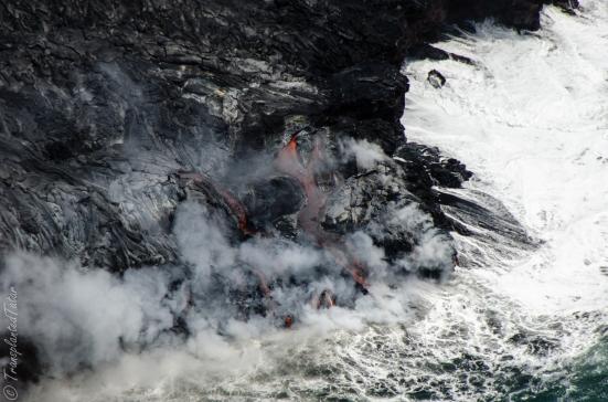 Lava meets ocean, Kilauea Volcano, Big Island, Hawaii