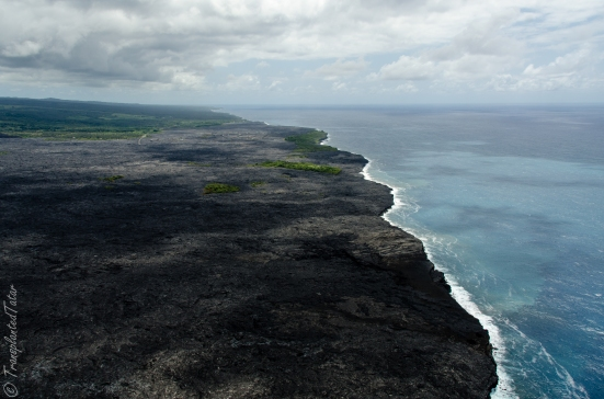 Flying over Kilauea's lava flow, Hawaii